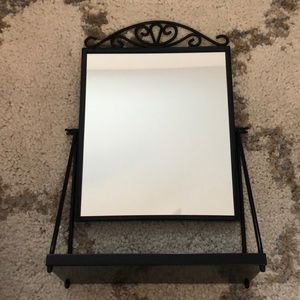 Small counter top or vanity mirror with tray